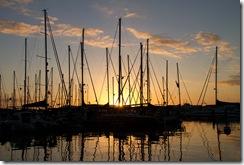 Couché de soleil sur le port. Une petite biere ?